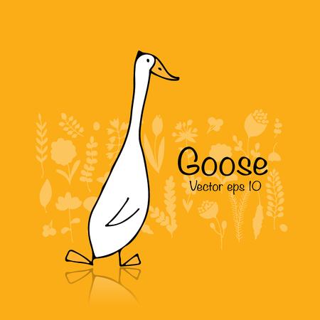 Funny goose, sketch for your design Illustration