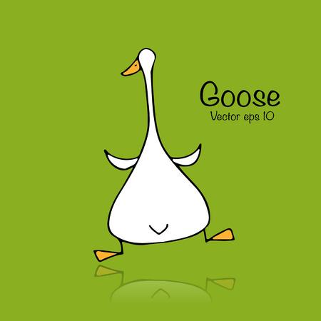 Funny goose, sketch for your design Ilustração