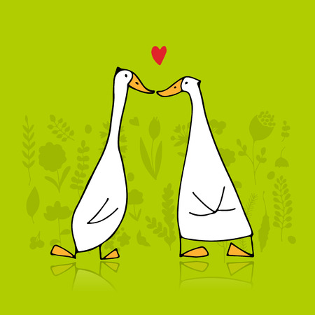 Funny goose couple, sketch for your design