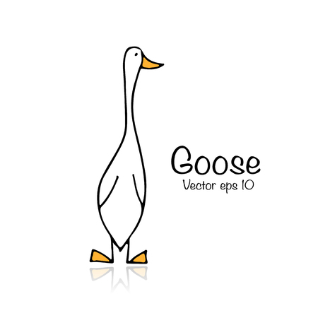 Funny goose, sketch for your design Ilustracja