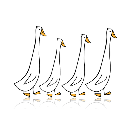 Funny goose family, sketch for your design Illustration