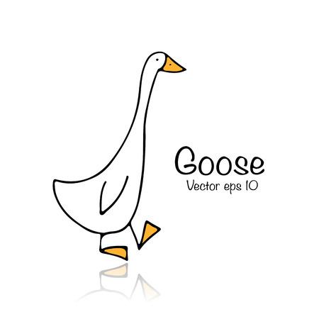 Funny goose, sketch for your design 矢量图像