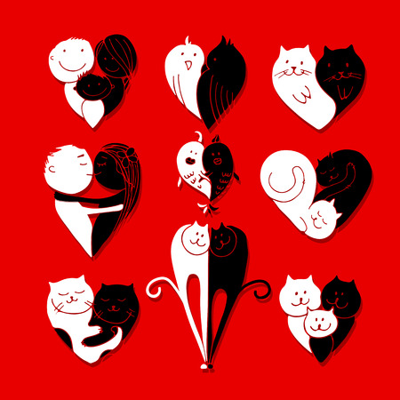 meow: Couples, set of red sketches for your design.