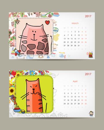 kid portrait: 2017 baby calendar template. Insert your photo