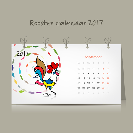 chinese new year card: Rooster calendar 2017 for your design Illustration