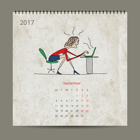 tehnology: Office life, calendar 2017 design