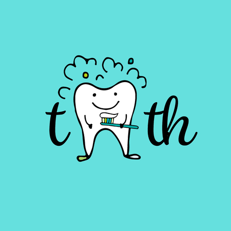 toothache: Tooth character, sketch for your design