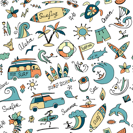 Surfing seamless pattern, sketch for your design