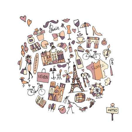 創造的なフランス、アイコンのコレクション。あなたの設計のためのスケッチ 写真素材 - 74559139