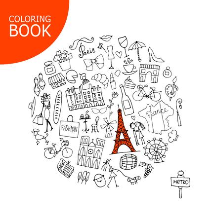 Francia Viajes, Dibujo. Página Para Tu Libro Para Colorear ...