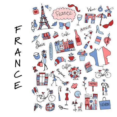 フランス、アイコンのコレクション。あなたの設計のためのスケッチ  イラスト・ベクター素材