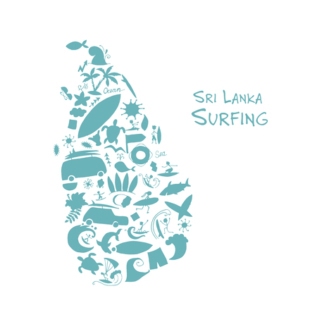 Sri Lanka surfind, design made from surf icons Illustration