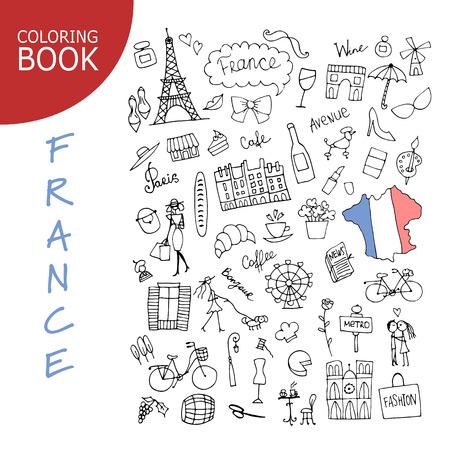 フランス、アイコンのコレクション。あなたの設計のためのスケッチ 写真素材 - 74559142
