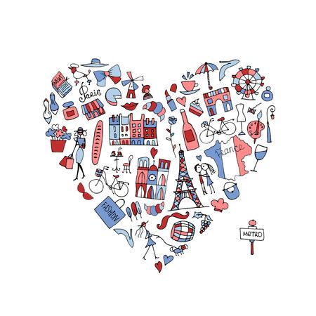 フランス、アイコンのコレクションが大好きです。あなたの設計のためのスケッチ