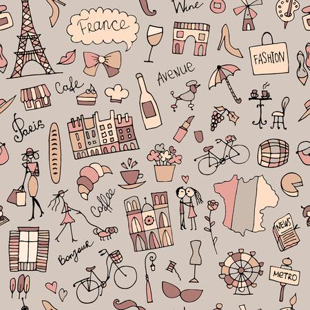 フランスのスケッチ、設計のシームレス パターン