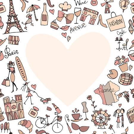 city background: I love France. Sketch for your design