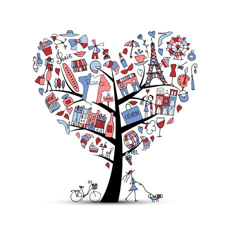 創造的な芸術の木、フランスが大好きです。あなたの設計のためのスケッチ 写真素材 - 74559145