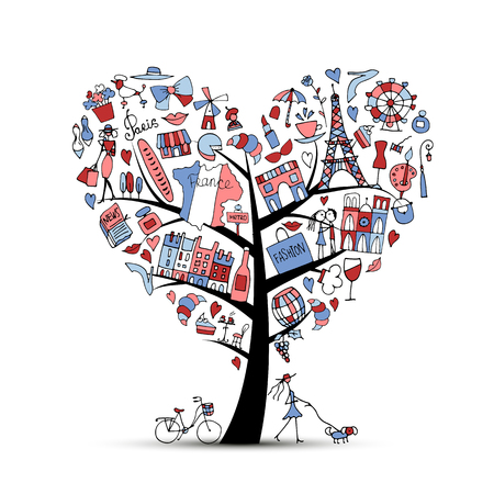 tree: Creative I love France, art tree. Sketch for your design