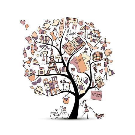 フランス、芸術の木が大好きです。あなたの設計のためのスケッチ