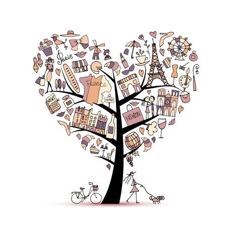 フランス、芸術の木が大好きです。あなたの設計のためのスケッチ 写真素材 - 74560678