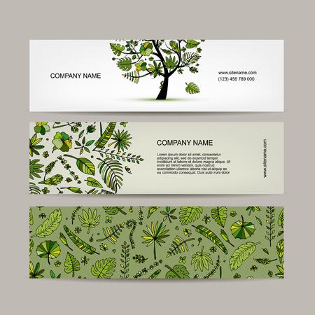 postcard: Banners set, tropical tree design