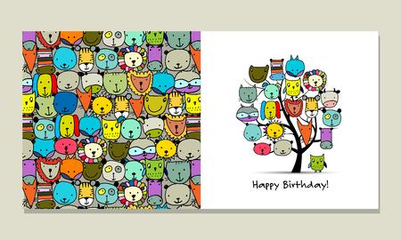 postcard: Greeting card design, funny animals tree Illustration