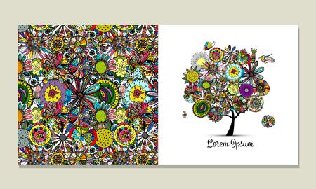 tree: Greeting card design, floral tree