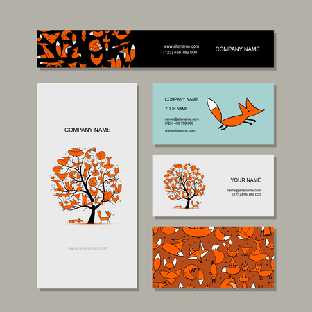 textured paper: Business cards collection, foxy tree design. Vector illustration
