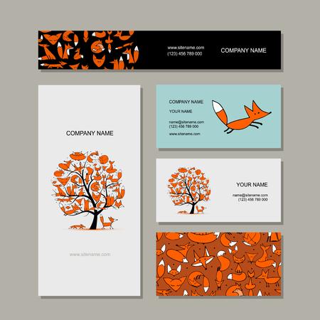 Collection de cartes de visite, conception de l'arbre foxy. Illustration vectorielle Vecteurs