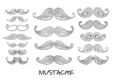 Mustache collection, ornate sketch for your design. Vector illustration Illustration
