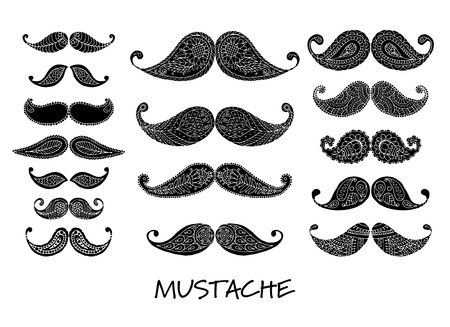 Mustache collection, ornate sketch for your design. Vector illustration Illustration