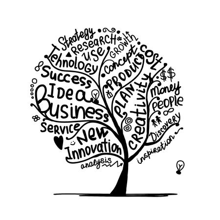 idea sketch: Business idea tree, sketch for your design. Vector illustration