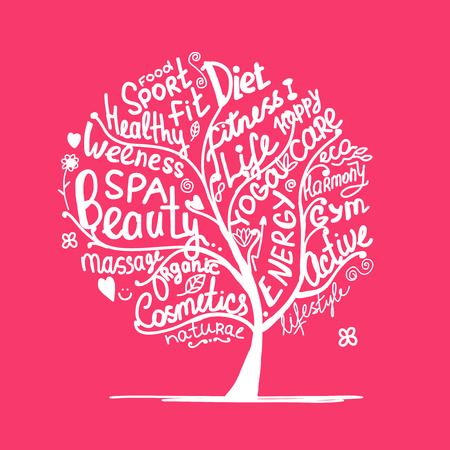 massage symbol: Art tree with healhty lifestyle tags. Vector illustration Illustration