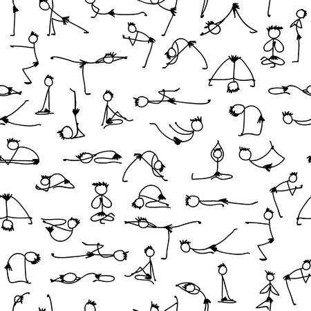 Yoga set, seamless pattern for your design. Vector illustration Illustration