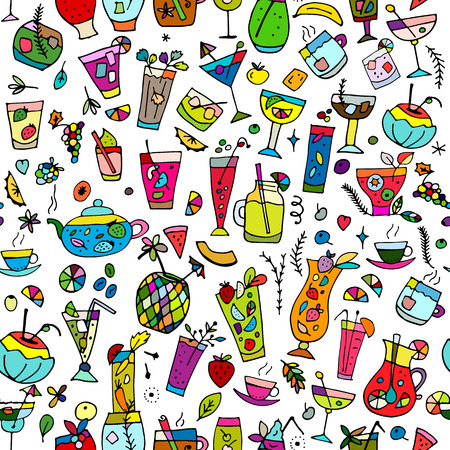 Cocktails collection, seamless pattern for your design. Vector illustration