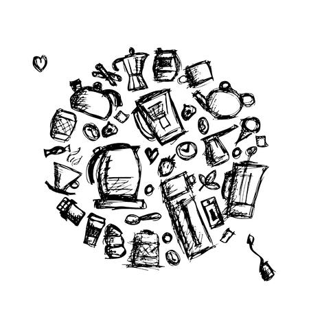 Kitchen utensils, sketch drawing for your design. Vector illustration Illustration