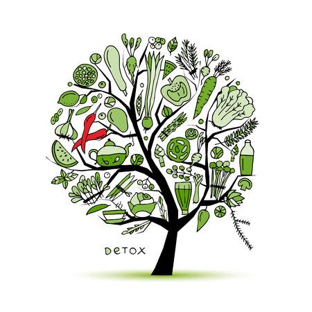 緑の野菜とツリー。あなたのデザインをスケッチします。ベクトル図