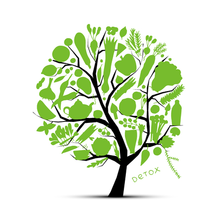 Tree with green vegetables. Sketch for your design. Vector illustration
