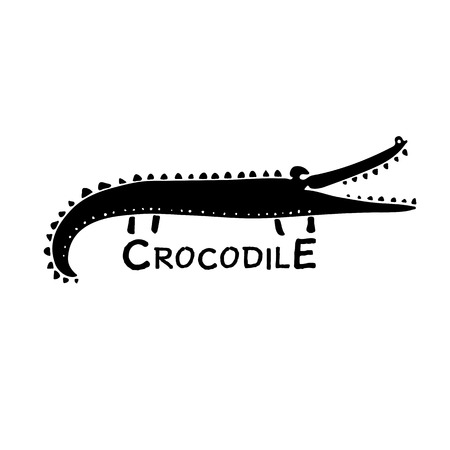 Funny crocodile, sketch for your design. Vector illustration Illustration