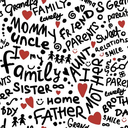 Famiglia. modello senza soluzione di continuità per il tuo design. Illustrazione vettoriale Archivio Fotografico - 75146221