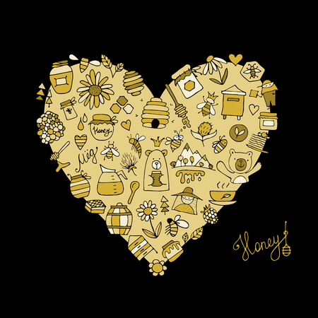 Honey apiary icons, heart shape. Sketch for your design. Vector illustration