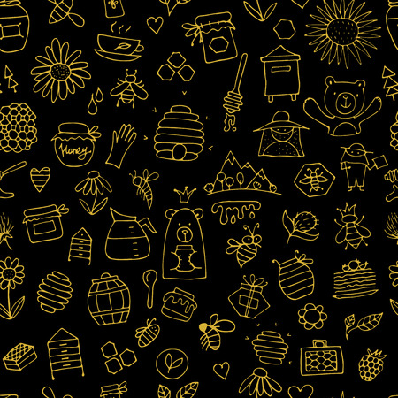 comb: Honey apiary, seamless pattern. Sketch for your design. Vector illustration Illustration