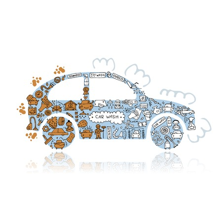 Car washing, vector icons sketch for your design. Vector illustration Illustration