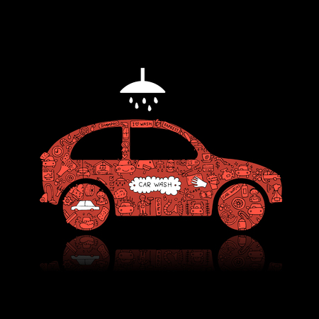 Car washing, vector icons sketch for your design. Vector illustration Stock Vector - 75393747