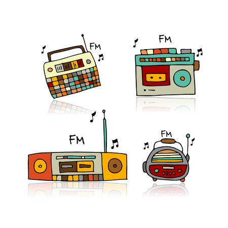 Vintage radio set, sketch for your design. Vector illustration