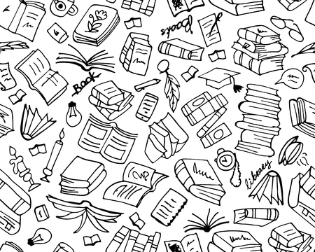 master page: Books collection, seamless pattern for your design. Vector illustration Illustration