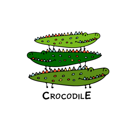 Crocodiles family, sketch for your design. Vector illustration