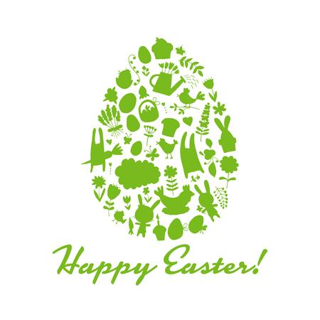 easter cake: Easter egg, icons collection for your design. Vector illustration Illustration