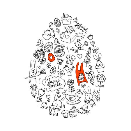 Oeuf de Pâques, collection d'icônes pour votre conception. Illustration vectorielle Banque d'images - 75394899