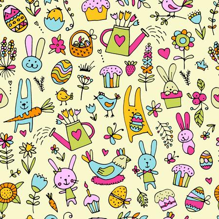 easter cake: Easter, seamless pattern for your design. Vector illustration Illustration